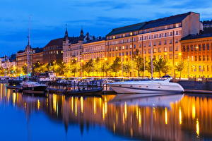 Bilder Finnland Gebäude Fluss Yacht Helsinki Nacht
