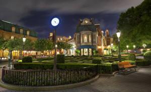 Fotos USA Disneyland Park Uhr Kalifornien Anaheim Design HDRI Nacht Bank (Möbel) Strauch Städte