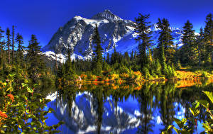 Fotos USA See Gebirge Washington Fichten HDR Natur