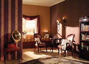 Pictures Interior Retro Living room Wing chair Window Design
