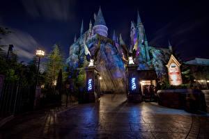 Fotos Vereinigte Staaten Disneyland Park Burg Kalifornien Anaheim Nacht HDRI Städte