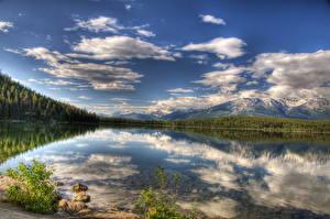 Fotos Kanada Park See Landschaftsfotografie Wolke HDRI Jasper park Piramid