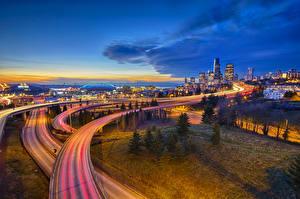 Bilder Vereinigte Staaten Gebäude Wege Seattle HDRI Nacht Städte