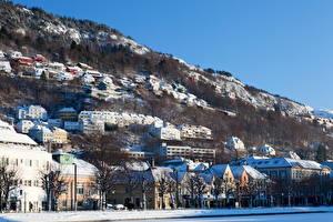 Photo Houses Norway Winter Bergen Cities