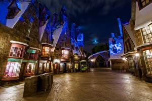 Fotos USA Disneyland Park Gebäude Kalifornien Anaheim Design HDR Nacht Städte Natur