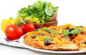 Fotos Pizza Tomate Teller Königskraut das Essen
