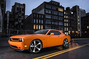 Picture Dodge Tuning Building Orange Night 2013 Challenger HEMI Shaker auto Cities
