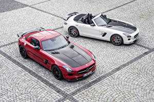 Fotos Mercedes-Benz Tuning Rot Weiß Cabrio 2 Roadster 2013 SLS63 AMG GT roadster