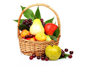 Picture Fruit Apples Pears Cherry Wicker basket Food