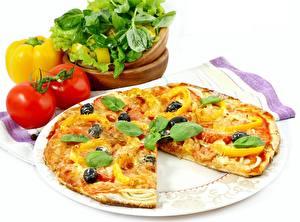 Fotos Pizza Tomate Paprika Teller Basilikum das Essen