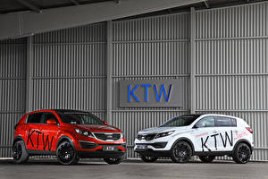 Wallpaper KIA Tuning Two White Red 2013 Sportage Cars