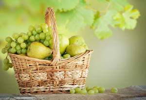 Wallpapers Fruit Grapes Pears Wicker basket