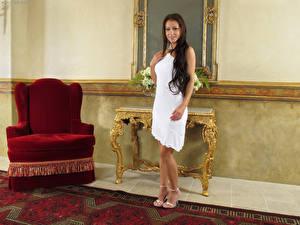 Picture Melisa Mendiny Brunette girl Dress Armchair Girls