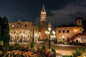 Hintergrundbilder USA Disneyland Park Gebäude HDR Kalifornien Anaheim Design Nacht Straßenlaterne Städte