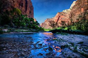 Bilder USA Park Wasser Gebirge Zion-Nationalpark HDR Natur