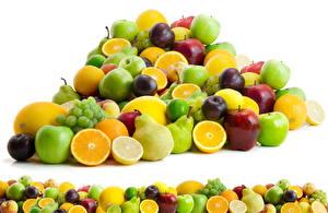 Photo Fruit Apples Pears Plums Orange fruit Grapes