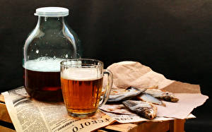Photo Drinks Beer Fish Mug Jar Food