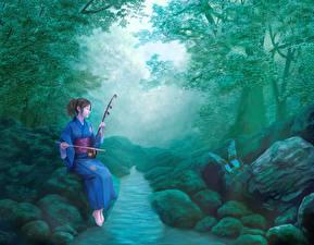 Fonds d'écran Pierres Kimono Ruisseau art, erhu Anime Filles