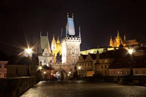 Pictures Prague Czech Republic Bridges Building Charles Bridge Night Street lights Tower Cities