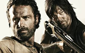 Wallpapers The Walking Dead TV Men Archers Norman Reedus Andrew Lincoln Two Face Beard Moustache Crossbow film Girls