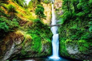 Hintergrundbilder USA Wasserfall Brücken HDR Multnomah Falls Oregon Natur