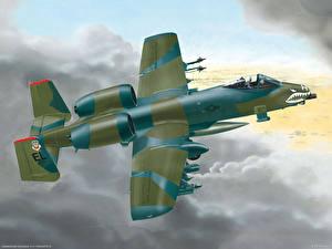 Hintergrundbilder Flugzeuge Gezeichnet A-10 Thunderbolt II Schlachtflugzeug