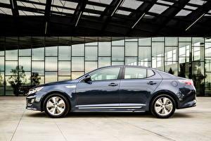 Bakgrunnsbilder KIA Side utsikt Metallisk Blå Hybridbil 2014 Optima Hybrid automobil
