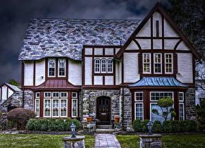 Fotos Vereinigte Staaten Haus Landschaftsbau Straßenlaterne HDR American Tudor Homes Städte