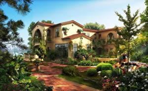 Pictures Building Gardens Mansion Bush Cities 3D_Graphics