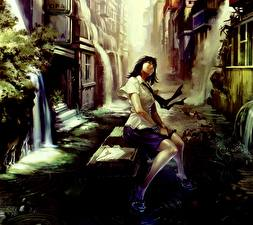 Hintergrundbilder Schülerin Brünette Sitzend Stadtstraße Anime Mädchens