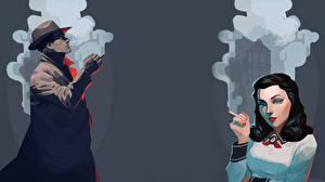 Fotos BioShock BioShock Infinite Vektorgrafik Elisabeth computerspiel Mädchens