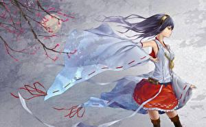 Hintergrundbilder Brünette Kleid Japanische Kirschblüte Ast kantai collection, haruna Anime Mädchens