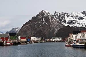 Wallpapers Norway Mountain Rivers Houses Lofoten Cities