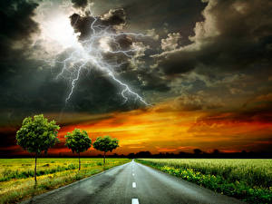 Pictures Scenery Roads Sky Grass Clouds Lightning Trees Storm cloud Nature
