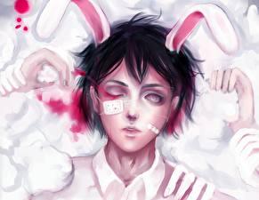 Fotos Gezeichnet Bunnygirl Augenklappe Blut Hasenohren Anime Mädchens