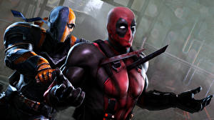 Wallpaper Deadpool hero Superheroes Battles Swords Two Fantasy 3D_Graphics