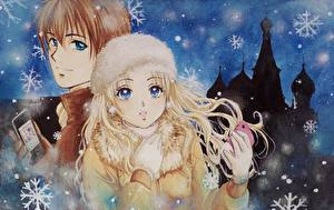 Pictures Illustrations to books Winter hat Phone Snowflakes  Fantasy Girls