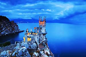 Pictures Castles Sea Coast Russia Crimea Crag  Cities