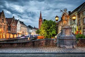 Fotos Belgien Haus Denkmal Straßenlaterne HDR Bruge Städte