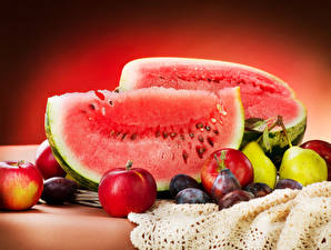 Pictures Fruit Watermelons Apples Pears Plums Food