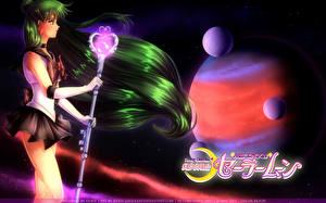 Fonds d'écran Sailor Moon Planètes Bâton Cheveux Setsuna Meiou, Sailor Pluto Anime Filles Сosmos
