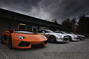 Images Lamborghini Nissan Orange Luxury aventador lp700-4, nissan gtr r35 Cars
