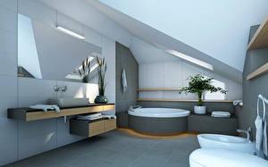 Photo Interior Bathroom Design High-tech style