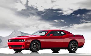 Wallpapers Dodge Tuning Red Metallic 2015 Challenger SRT Hellcat Hemi Cars