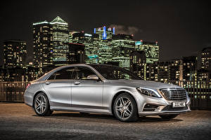 Images Mercedes-Benz Tuning Silver color Night time Hybrid vehicle 2014 S300 W222 BlueTEC Hybrid Cars