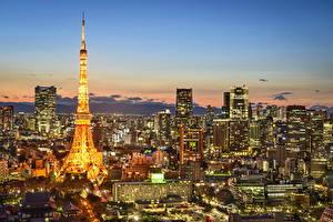 壁纸、、日本、建物、東京都、メガロポリス、夜、エッフェル塔、都市