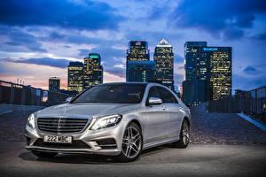 Photo Mercedes-Benz Tuning Night Silver color Hybrid vehicle 2014 S300 W222 BlueTEC Hybrid auto