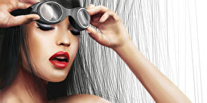 Wallpapers Painting Art Face Glasses Brunette girl Red lips young woman