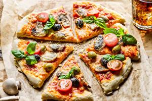 Hintergrundbilder Pizza Pilze Tomaten Königskraut das Essen