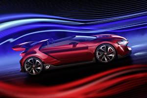Bilder Volkswagen Bordeauxrot Cabrio Seitlich Roadster 2014 GTI roadster